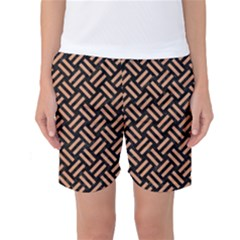 Woven2 Black Marble & Natural Red Birch Wood Women s Basketball Shorts