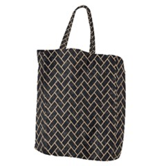 Brick2 Black Marble & Natural White Birch Wood Giant Grocery Zipper Tote