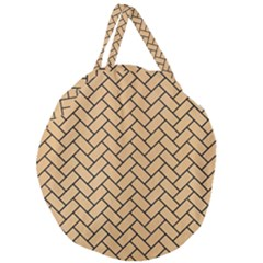 Brick2 Black Marble & Natural White Birch Wood (r) Giant Round Zipper Tote