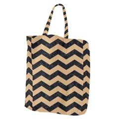 Chevron3 Black Marble & Natural White Birch Wood Giant Grocery Zipper Tote