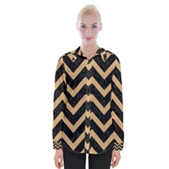 Chevron9 Black Marble & Natural White Birch Wood Womens Long Sleeve Shirt