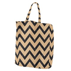 Chevron9 Black Marble & Natural White Birch Wood (r) Giant Grocery Zipper Tote