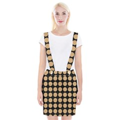 Circles1 Black Marble & Natural White Birch Wood Braces Suspender Skirt