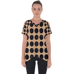 Circles1 Black Marble & Natural White Birch Wood (r) Cut Out Side Drop Tee