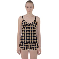 Circles1 Black Marble & Natural White Birch Wood (r) Tie Front Two Piece Tankini