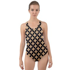 Circles3 Black Marble & Natural White Birch Wood (r) Cut Out Back One Piece Swimsuit