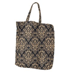 Damask1 Black Marble & Natural White Birch Wood Giant Grocery Zipper Tote