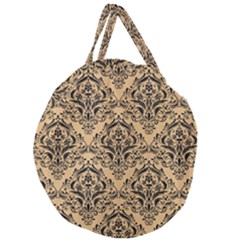 Damask1 Black Marble & Natural White Birch Wood (r) Giant Round Zipper Tote