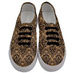 Damask1 Black Marble & Natural White Birch Wood (r) Men s Classic Low Top Sneakers