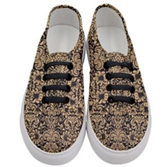 Damask2 Black Marble & Natural White Birch Wood Women s Classic Low Top Sneakers