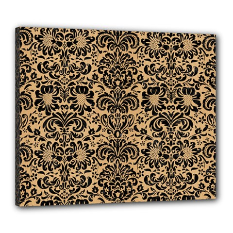 Damask2 Black Marble & Natural White Birch Wood (r) Canvas 24  X 20