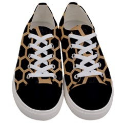 Hexagon2 Black Marble & Natural White Birch Wood Women s Low Top Canvas Sneakers