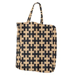 Puzzle1 Black Marble & Natural White Birch Wood Giant Grocery Zipper Tote