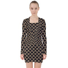 Scales1 Black Marble & Natural White Birch Wood V Neck Bodycon Long Sleeve Dress