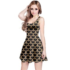 Scales3 Black Marble & Natural White Birch Wood Reversible Sleeveless Dress