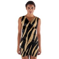 Skin3 Black Marble & Natural White Birch Wood Wrap Front Bodycon Dress