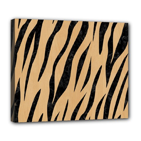 Skin3 Black Marble & Natural White Birch Wood (r) Deluxe Canvas 24  X 20