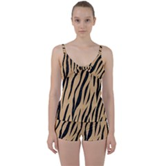 Skin3 Black Marble & Natural White Birch Wood (r) Tie Front Two Piece Tankini