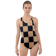 Square1 Black Marble & Natural White Birch Wood Cut Out Back One Piece Swimsuit