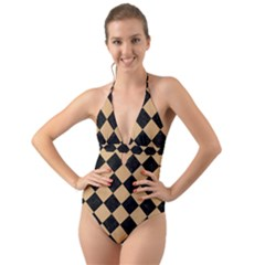 Square2 Black Marble & Natural White Birch Wood Halter Cut Out One Piece Swimsuit