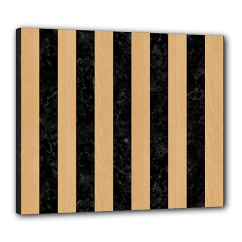 Stripes1 Black Marble & Natural White Birch Wood Canvas 24  X 20