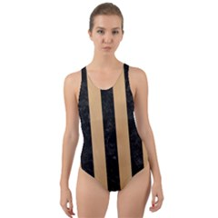 Stripes1 Black Marble & Natural White Birch Wood Cut Out Back One Piece Swimsuit