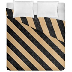 Stripes3 Black Marble & Natural White Birch Wood (r) Duvet Cover Double Side (california King Size)