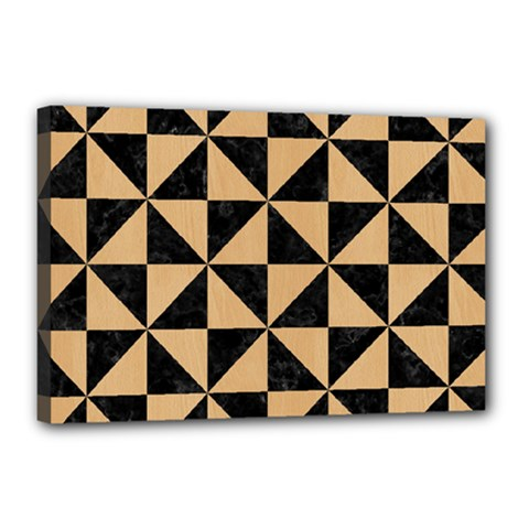 Triangle1 Black Marble & Natural White Birch Wood Canvas 18  X 12
