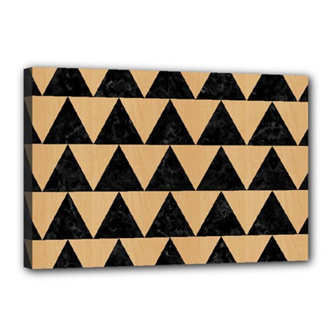 Triangle2 Black Marble & Natural White Birch Wood Canvas 18  X 12