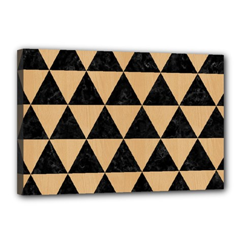Triangle3 Black Marble & Natural White Birch Wood Canvas 18  X 12
