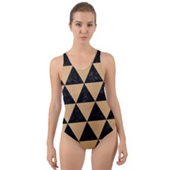 Triangle3 Black Marble & Natural White Birch Wood Cut Out Back One Piece Swimsuit