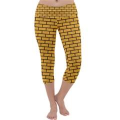 Brick1 Black Marble & Orange Colored Pencil (r) Capri Yoga Leggings