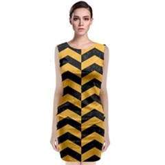 Chevron2 Black Marble & Orange Colored Pencil Classic Sleeveless Midi Dress