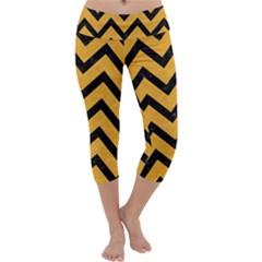 Chevron9 Black Marble & Orange Colored Pencil (r) Capri Yoga Leggings
