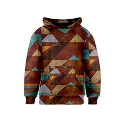 Turquoise And Bronze Triangle Design With Copper Kids  Pullover Hoodie