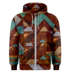 Turquoise And Bronze Triangle Design With Copper Men s Zipper Hoodie