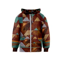 Turquoise And Bronze Triangle Design With Copper Kids  Zipper Hoodie