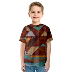 Turquoise And Bronze Triangle Design With Copper Kids  Sport Mesh Tee