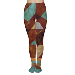 Turquoise And Bronze Triangle Design With Copper Women s Tights