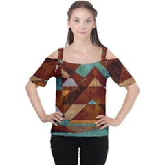 Turquoise And Bronze Triangle Design With Copper Cutout Shoulder Tee