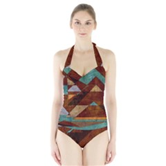 Turquoise And Bronze Triangle Design With Copper Halter Swimsuit