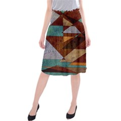 Turquoise And Bronze Triangle Design With Copper Midi Beach Skirt
