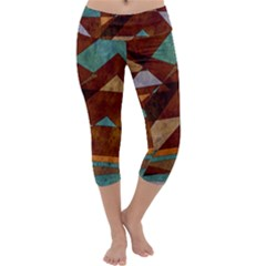 Turquoise And Bronze Triangle Design With Copper Capri Yoga Leggings