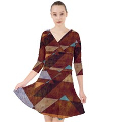 Turquoise And Bronze Triangle Design With Copper Quarter Sleeve Front Wrap Dress