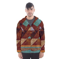 Turquoise And Bronze Triangle Design With Copper Hooded Wind Breaker (men)
