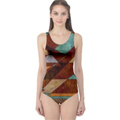 Turquoise And Bronze Triangle Design With Copper One Piece Swimsuit