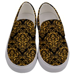 Damask1 Black Marble & Orange Colored Pencil Men s Canvas Slip Ons