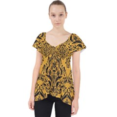 Damask1 Black Marble & Orange Colored Pencil (r) Lace Front Dolly Top