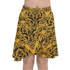 Damask1 Black Marble & Orange Colored Pencil (r) Chiffon Wrap