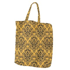 Damask1 Black Marble & Orange Colored Pencil (r) Giant Grocery Zipper Tote